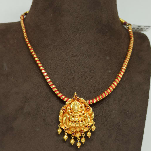 Gold Thread Lakshmi Necklace
