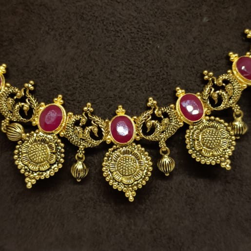 Oval Ruby Antique Necklace