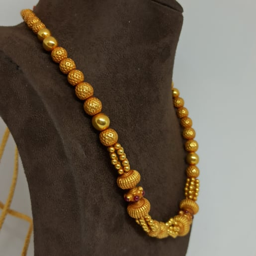 Red Stone With Gundu Necklace
