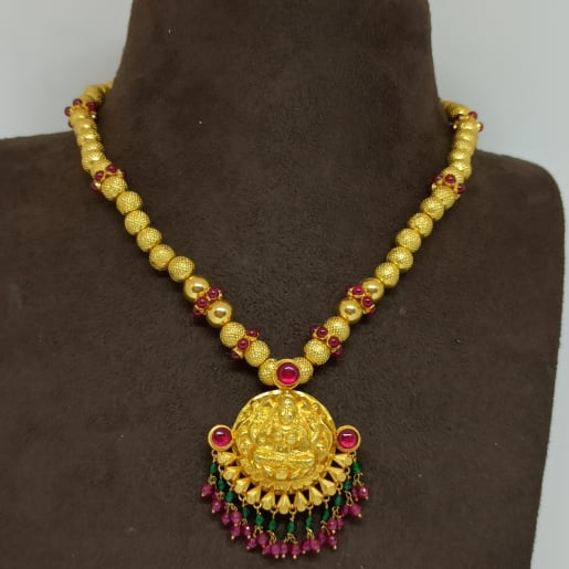 Red Stone Lakshmi Necklace