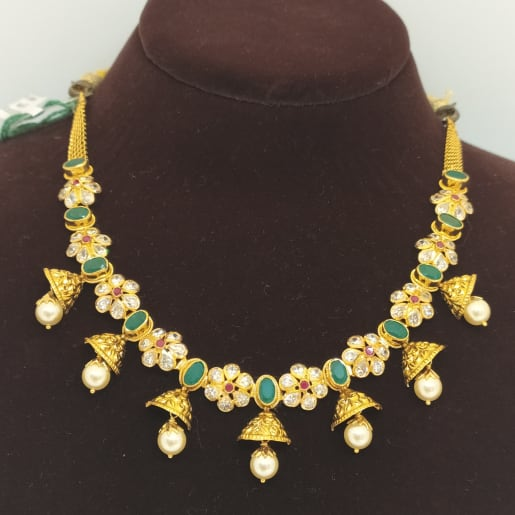 Cz Flower Ant Moti Necklace