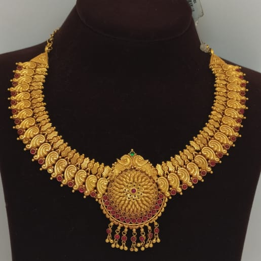 Red Stone Peacock Necklace