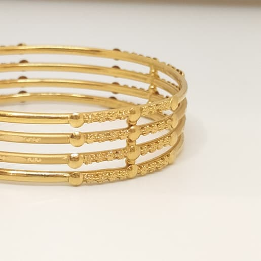 4 Line Flower Plain Bangle