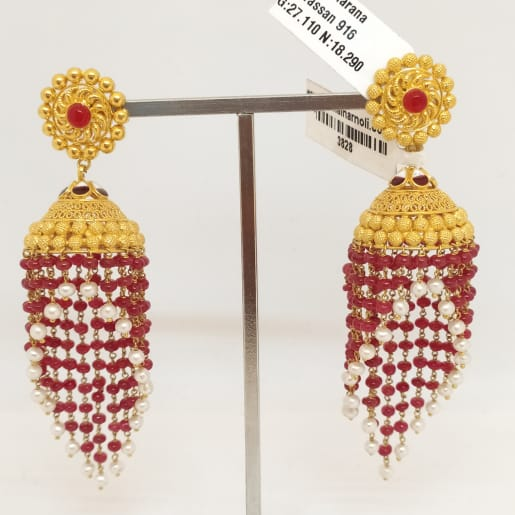 Red Stone With Moti Earring