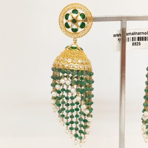 Green Stone With Moti Earring