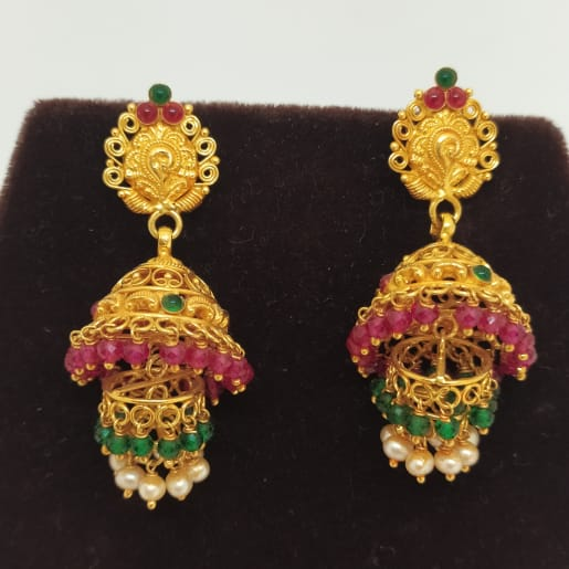 Pink And Green Stone Jhumka