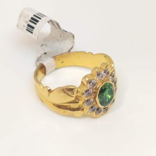 Emerald Stone With Cz Ring