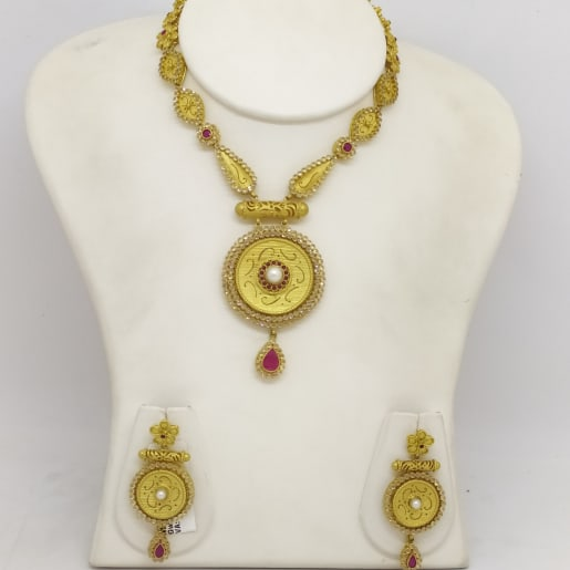 Red Stone Ncklace And Flower Jhumka