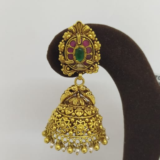 Peacock Stone Antique Jhumka