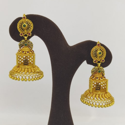 Peacock With Lakshmi Hanging Jhumka