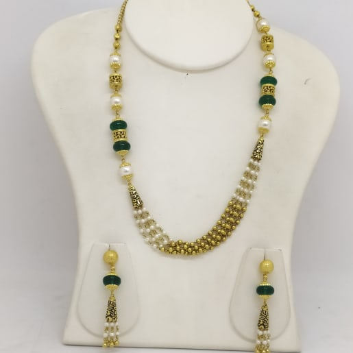 4line Moti And Stone Necklace