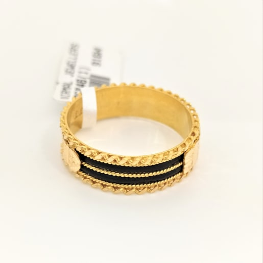 Gold Black Band Ring