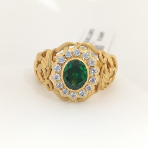 Green Oval Emerald Cz Ring