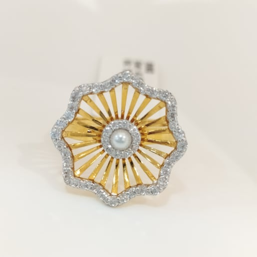 Sunflower Pearl Cz Ring