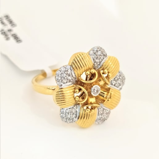 Lily Flower Cz Cocktail Ring