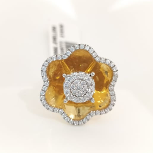 Beautiful Flower Cz Cocktail Ring