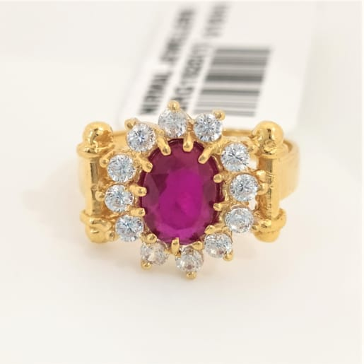 Oval Ruby Cz Ring