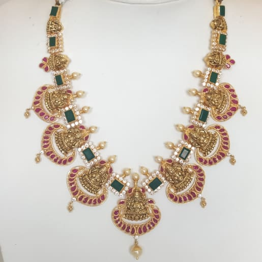Green Emerald Lakshmi Antique Necklace