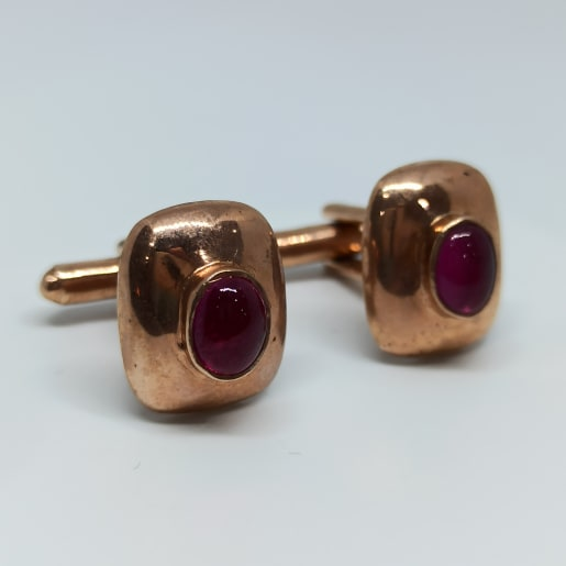Silver Cuff Links In Rose Gold Color