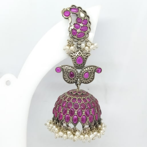 Pink Stone With Moti Jhumka