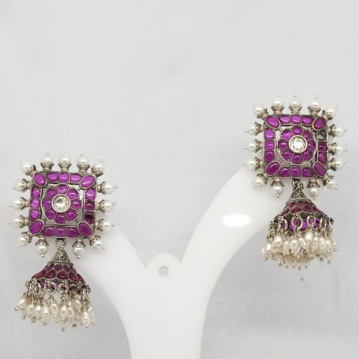 Pink Stone With Moti 2 Jhumka