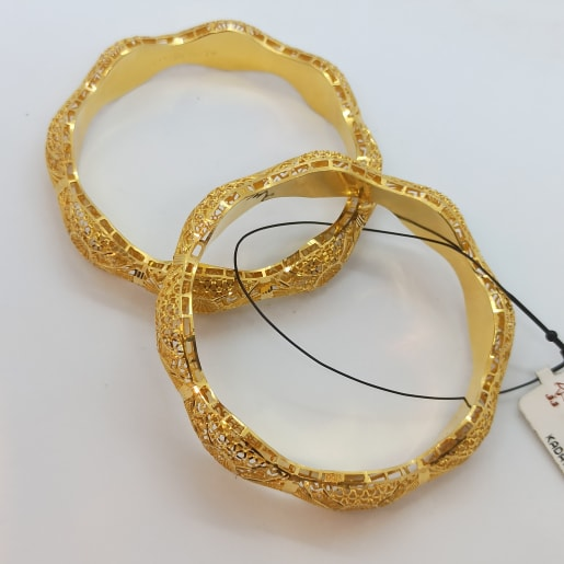Waves Shape Gold Bangles