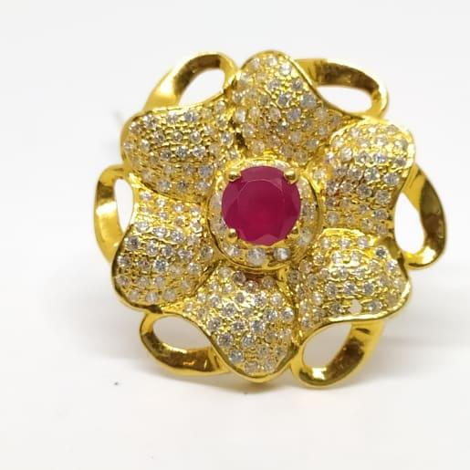 Flower Stone Gold Ring
