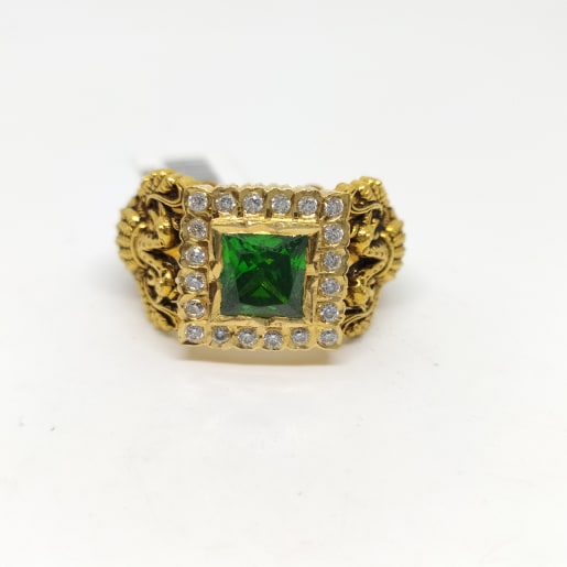 Green Stone Eagle Ring