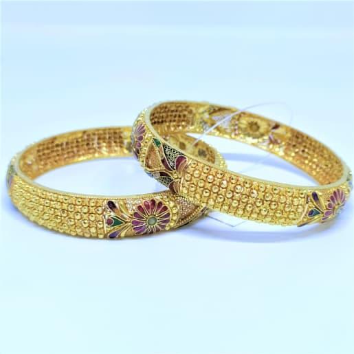 Floral Enamel Bead Bangles