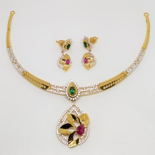Floral Cz Necklace Earrings Set