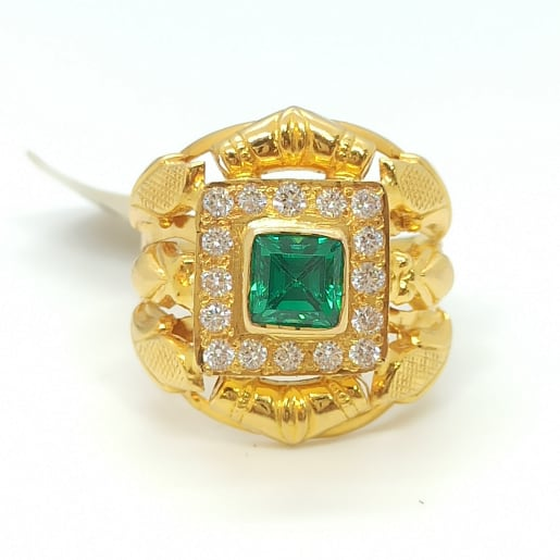 Emerald Cz Gold Ring