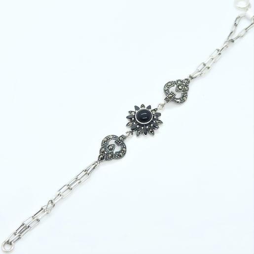Floral Black Stone Bracelet