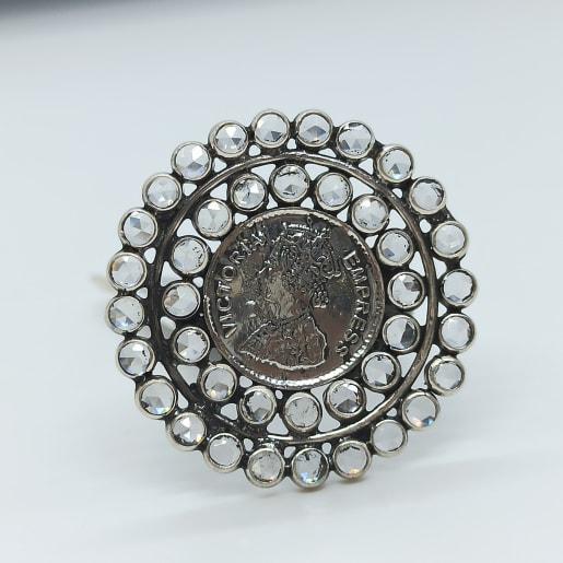 Cz Dollar Oxidized Ring