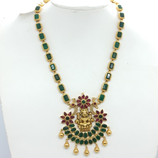 Green Stone With Lakshmi Haram
