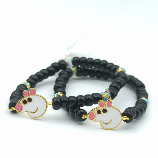 Cartoon Pig Black Bead Bracelet