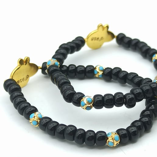 Cartoon Pig Black Bead Bracelet