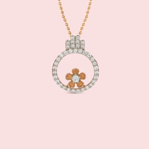 18kt Rose Gold Circle With Flower Real Diamond Pendant