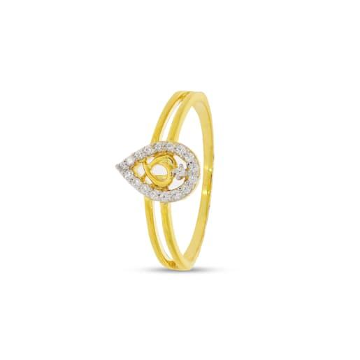 Leaf Shape Real Diamond Ring