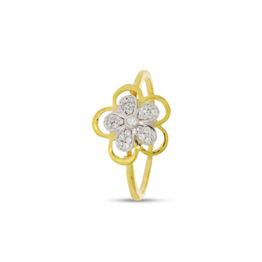 Flower Shape  Soltaire Diamond Ring