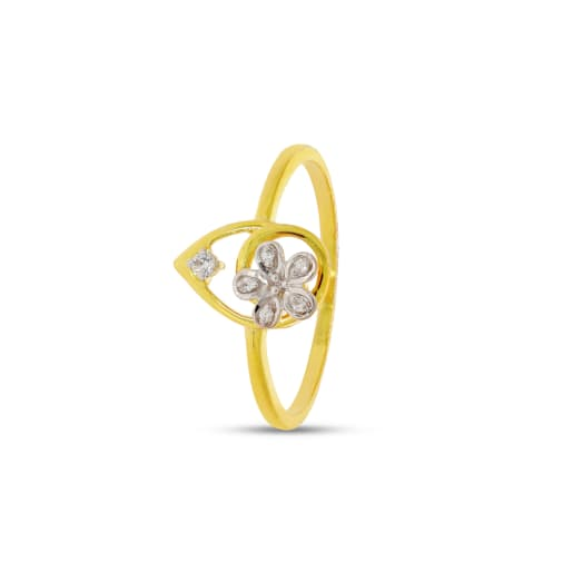 Flower With Leaf Real Diamond Ring