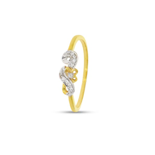 Flower With Rhodium Real Diamond Ring