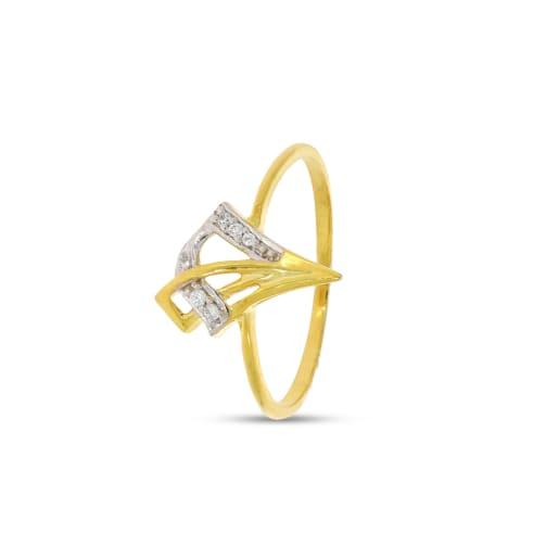 V Shape Diamond Ring With Rhodium