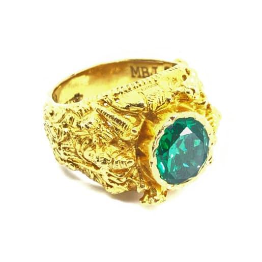 Mahadev Green Stone Ring