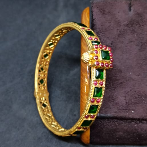 Green And Red Stone Bangle