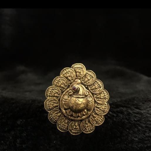 Antique Peacock Lakshmi Ring