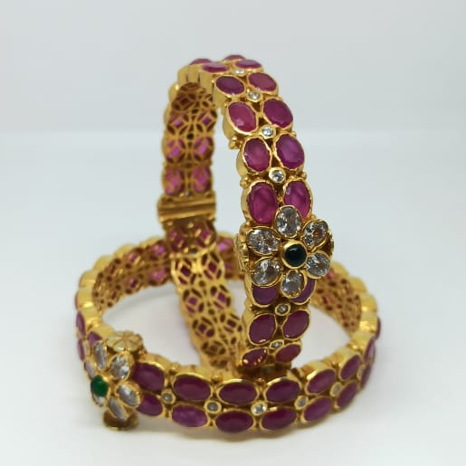 Pink Stone Antique Bangles