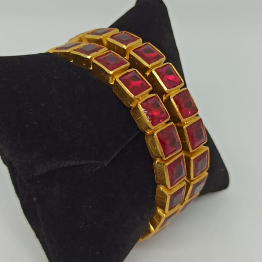 Red Stone Bangles