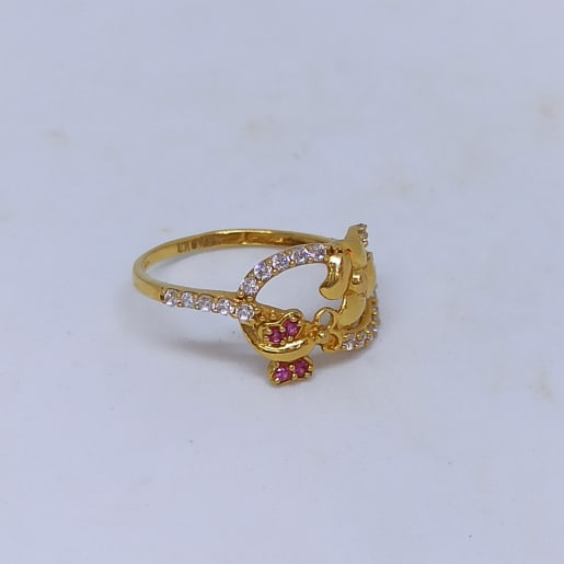 Floral Cz Colorstone Ring