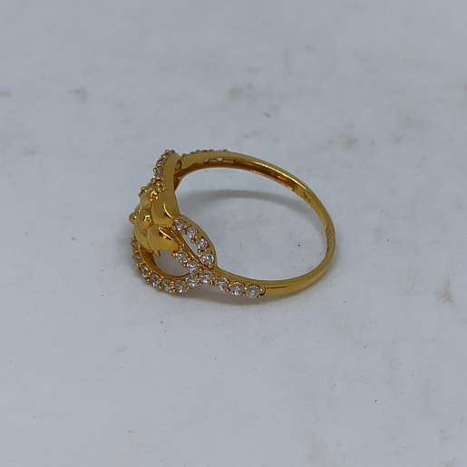 Floral Cz Colorstone Finger Ring