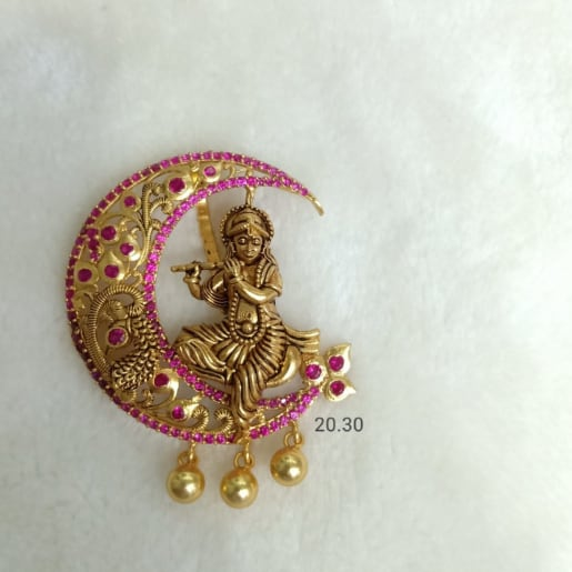 925 Silver Gold Plated Temple Jewellery Krishna Pendants